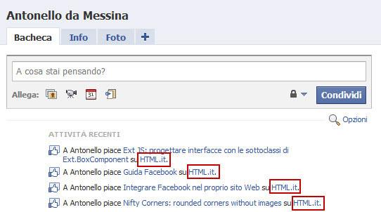 Figura 4: L'amministrazione di una pagina Open Graph su HTML.it