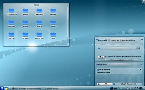 Figura 1: il desktop di KDE 4.5