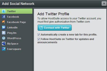 Figura 1: Aggiungi un social network