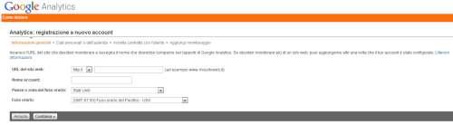 Google Analytics - Form di iscrizione