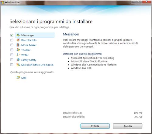 Installazione Windows Live Messenger
