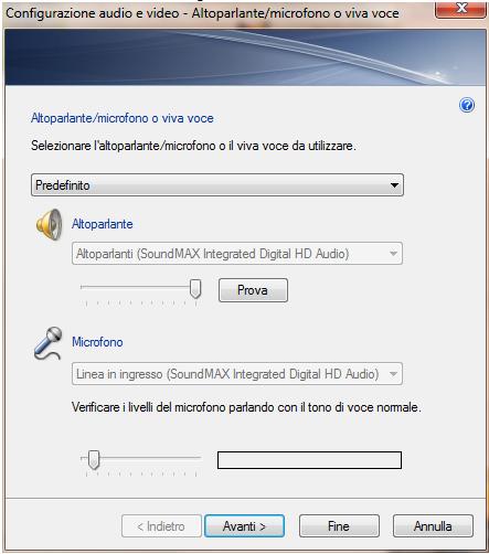 Finestra impostazioni audio e video
