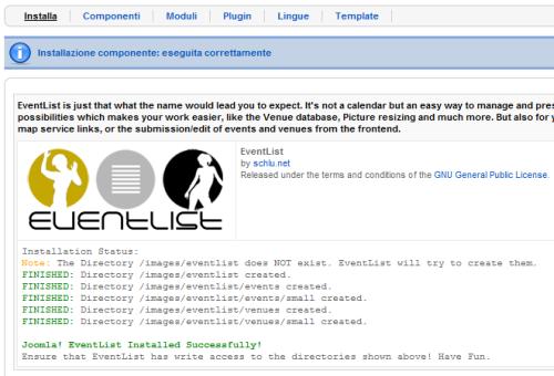 EventList installazione
