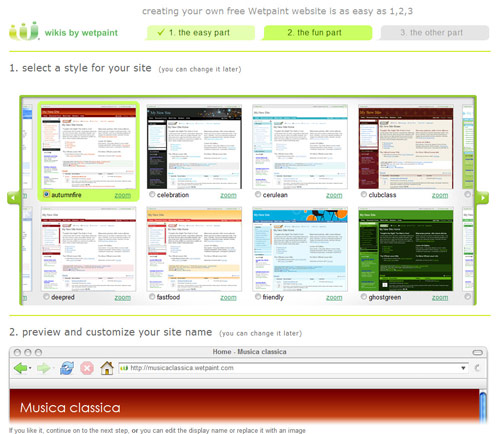 Figura 2: La galleria dei siti da creare con Wetpaintcentral