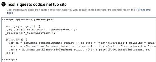 Codice JavaScript del profilo