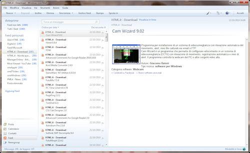Esempio di gestione di feed RSS all'interno di un programma di posta elettronica