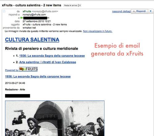 Figura 3: Una e-mail inviata da xFruits