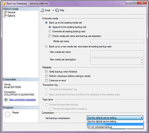 Figura 2: L'SQL Server Management Studio