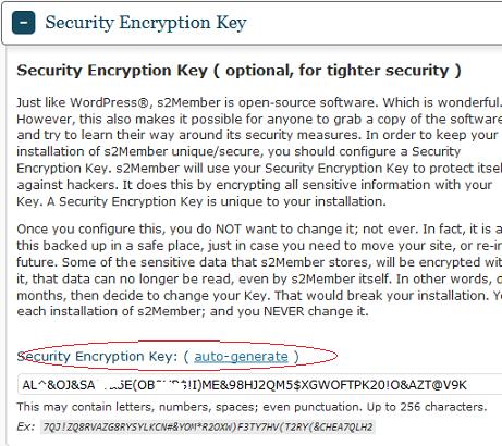 s2Member Security Encryption Key