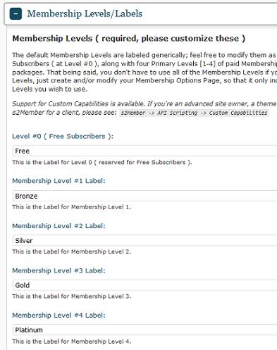 s2Member membership levels