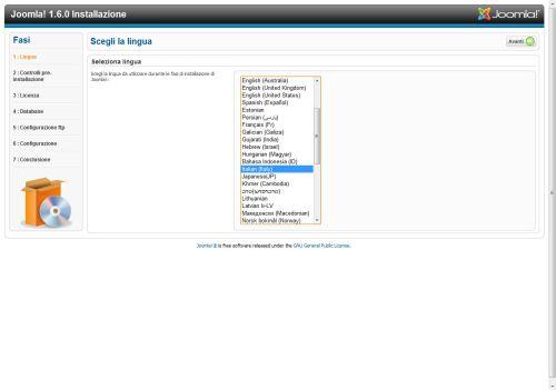 Joomla 1.6 lingua di installazione