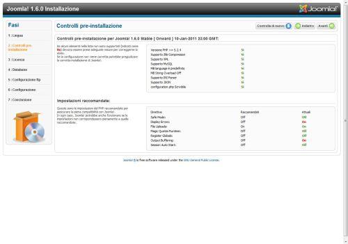 Requisiti per installazione Joomla 1.6