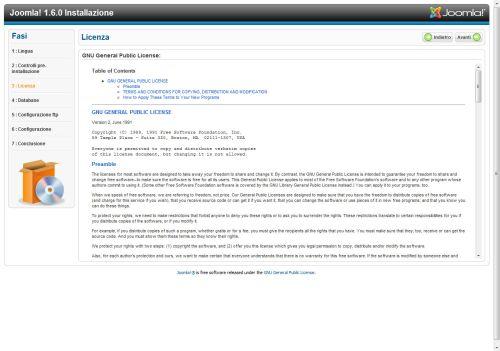 Joomla 1.6 accettazione licenza