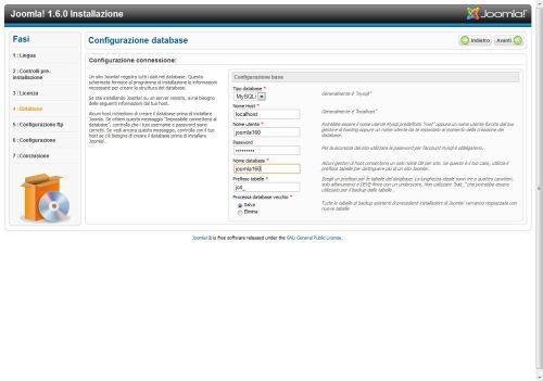 Joomla 1.6 configurazione database