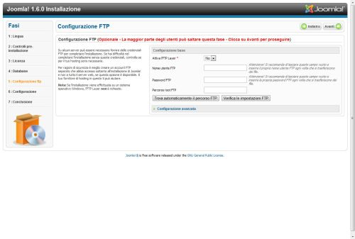 Joomla 1.6 credenziali FTP