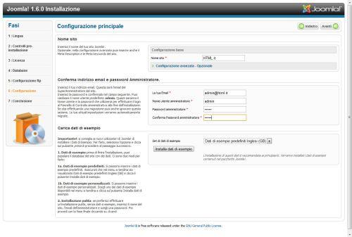 Joomla 1.6 nome utente e password