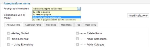 Assegnazione dei moduli alle pagine del sito
