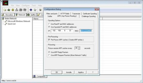 Impostazione dell'IP e del MAC address per lo spoofing