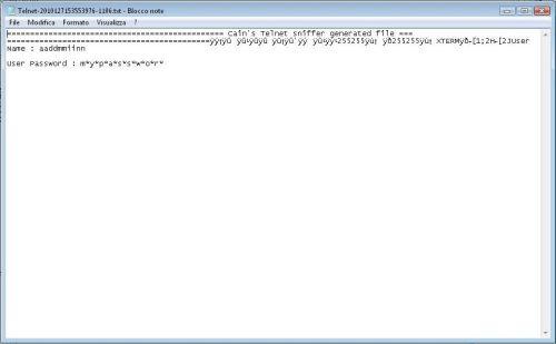 userid e password della sessione telnet