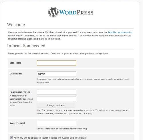 Wordpress Installazione
