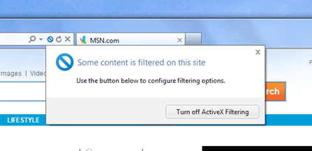 IE9 ActiveX Filtering