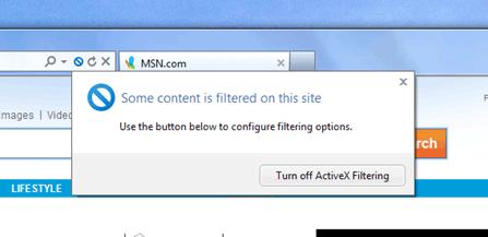 IE9 ActiveX Filtering