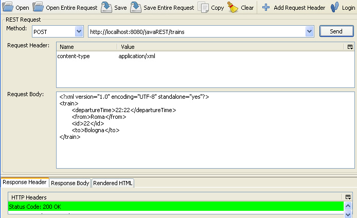 aggiunta di una risorsa tramite XML e POST