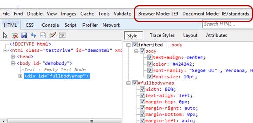 Menu Browser Mode e Document Mode
