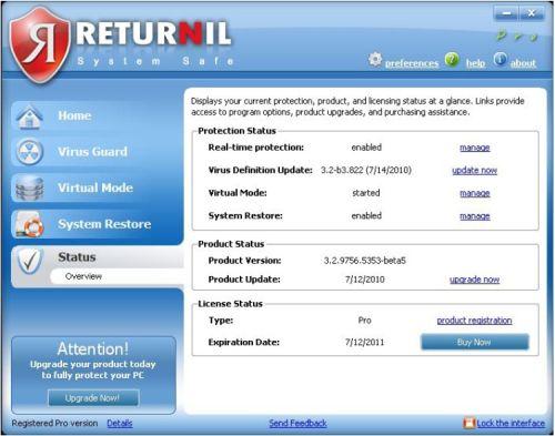 Returnil Virtual System status