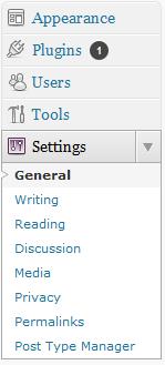 La voce di menu Post Type Manager