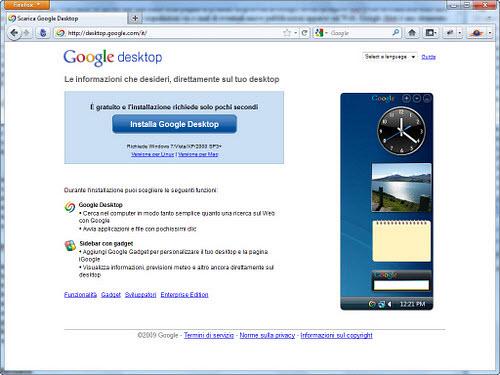 Figura 3: La pagina di download di Google Desktop