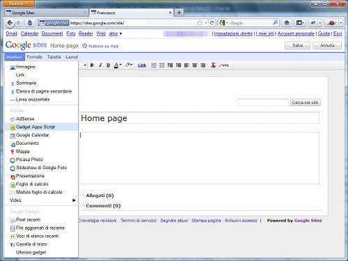 Figura 4: Un sito incluso in Google Sites