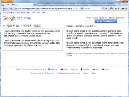 Figura 5: La traduzione al volo di Google traduttore