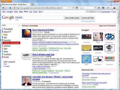 Figura 10: La sezione Scienza e Tecnologia di Google News