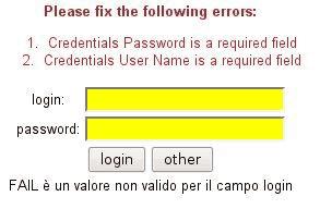 Stripes: errori di validazione nella form di esempio