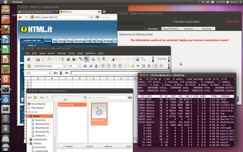 Figura 6: Alcune applicazioni sul desktop di Ubuntu 11.04