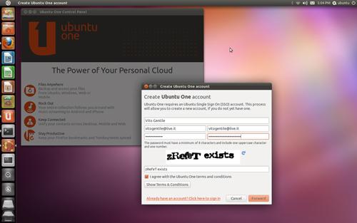 Figura 4: Ubuntu One: la registrazione al servizio