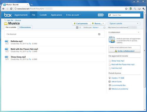 Figura 3: L'interfaccia Web di Box
