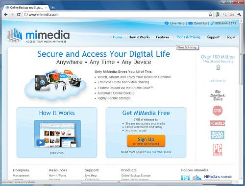 Figura 5: L'homepage di Mimedia