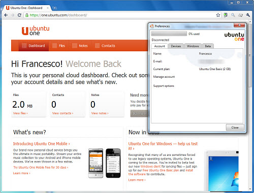 Figura 4: L'interfaccia Web e il client desktop di Ubuntu One