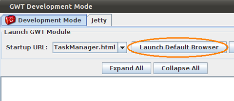GWT Task Manager GUI in Development mode