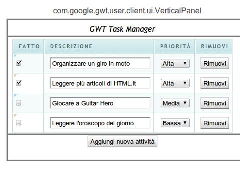 disposizione dei widget nel panel GWT