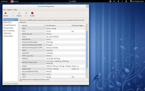 L'interfaccia grafica per la gestione del Firewall