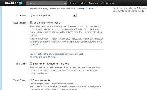 Figura 2: Impostazioni di privacy di Twitter