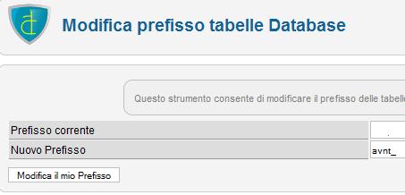 Modifica prefisso tabelle