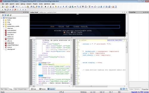Figura 4: Schermata principale di CodeLobster PHP Edition