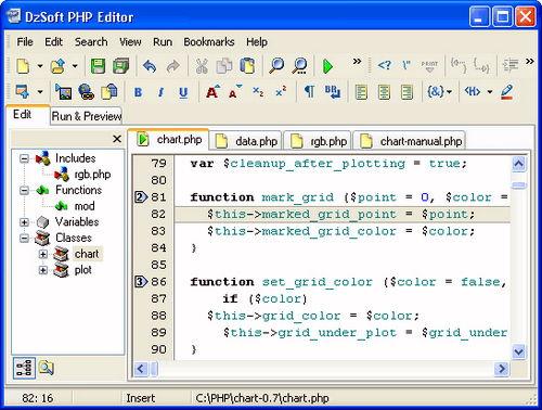 Figura 7: Interfaccia grafica di DzSoft PHP Editor