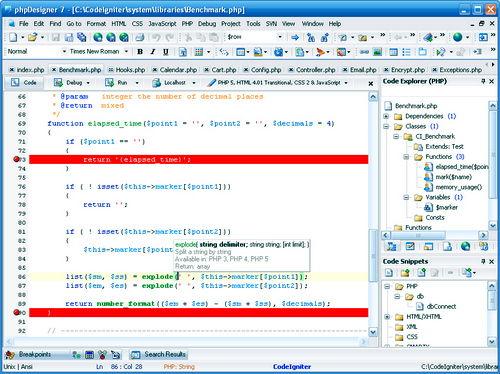 Figura 8: PHPDesigner e un esempio di codice