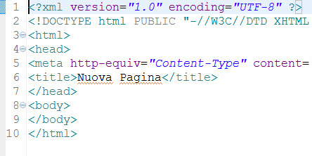 pagina html/jsp generata con Eclipse