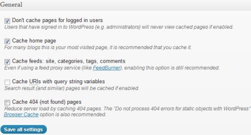 Impostazioni cache